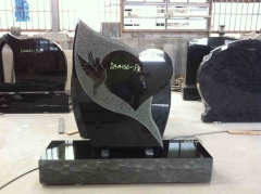 Custom Black Granite Tombstone American Style Monuments