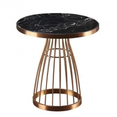 End and Side Tables with Marble Top and Metal Base